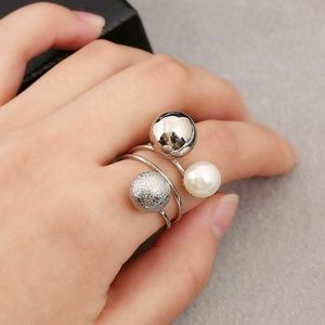2 for $17  Pearl & Silver Ball Adjustable Ring